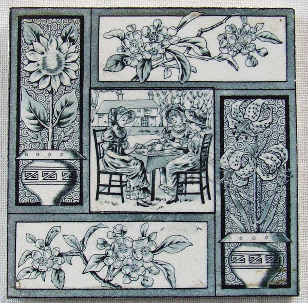 Kate Greenaway Aesthetic Movement Tile T & R Boote