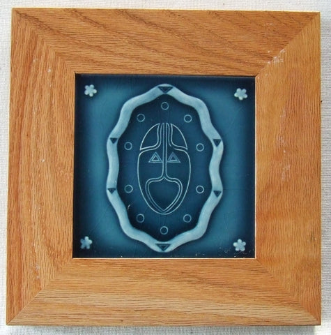 Framed Antique German Art Nouveau Tile by Wessel Arts & Crafts Secessionist
