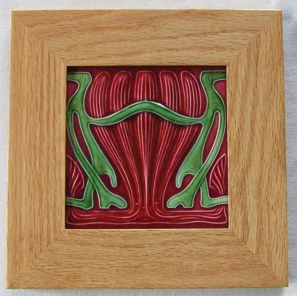 Framed Antique German Art Nouveau Tile by MO&PF Arts & Crafts Secessionist