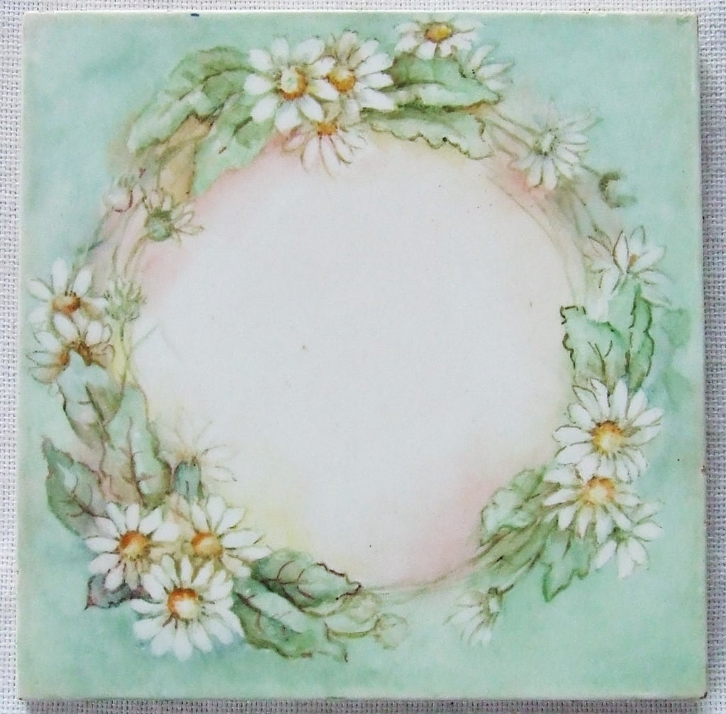 Daisy Wreath Mosaic Tile Antique Ceramic China Painting Shabby Cottage Country