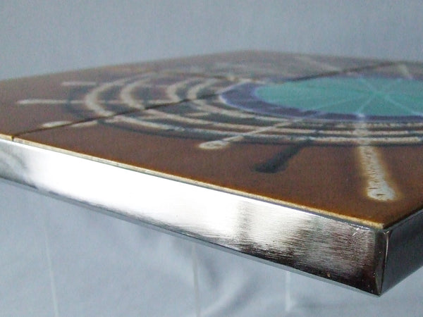 Vintage Mid Century Modern Large Tile Wall Panel Chrome Frame Table Top MCM