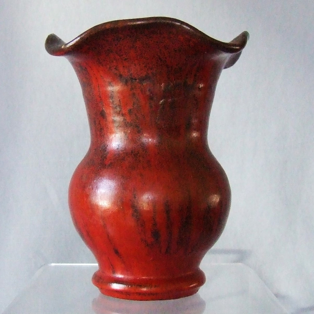 Smithfield Pottery Chrome Red Ruffle Top Vase
