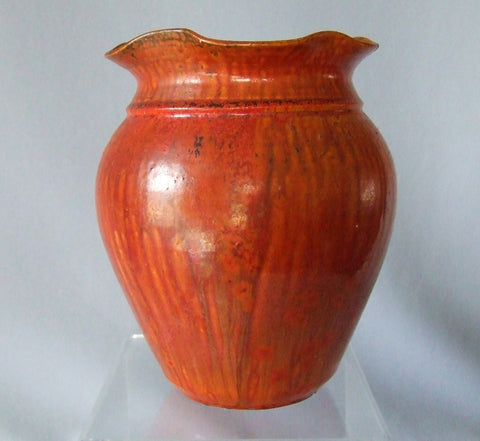 North Carolina A R Cole Pottery Chrome Red  Vase