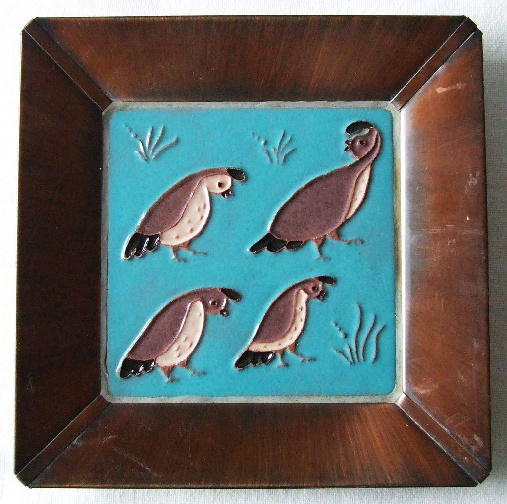 McKusick Gila Pottery Desert Quail Tile in Copper