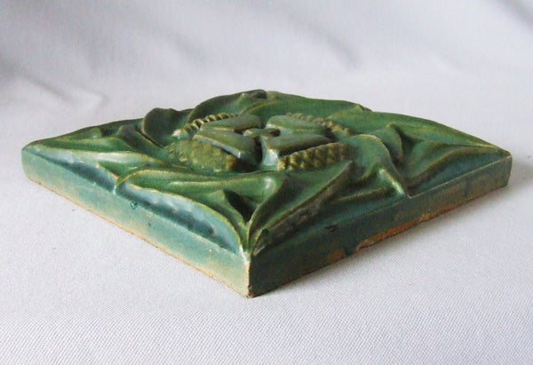 Rookwood Faience Art Pottery Tile with Thistles
