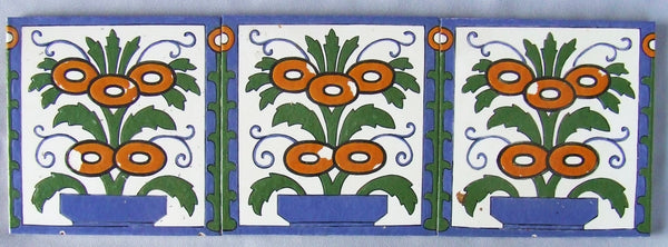3 Trent Antique Tiles Flower Border Panel