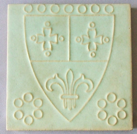 9 Wheatley Tile Arts & Crafts Fleur de Lis Coat of Arms
