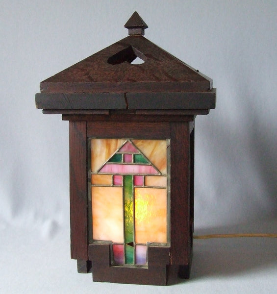 Arts & Crafts Oak and Leaded Glass Newel Post Lantern