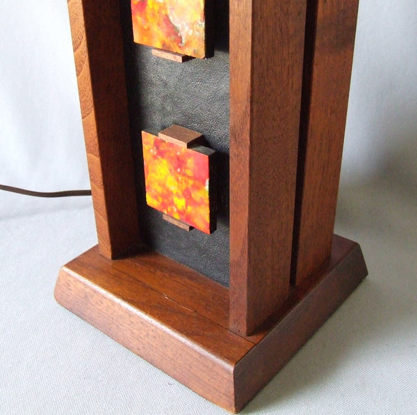 Harris Strong Tile, Walnut & Leather Table Lamp