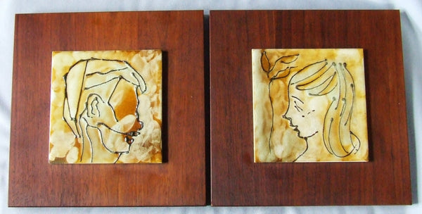 Pair Harris Strong Tile Portraits on Walnut Board