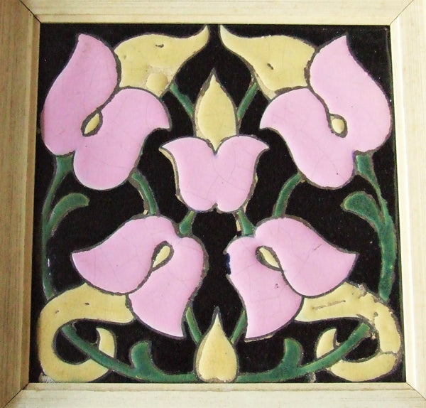 pink and black tile