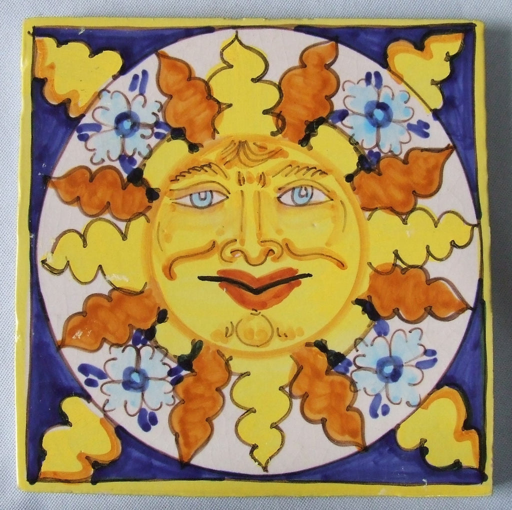 Italian sun tile hand painted