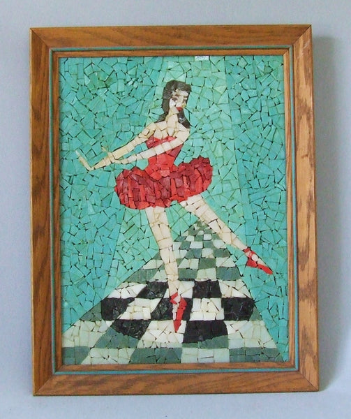 glass mosaic tile ballerina framed