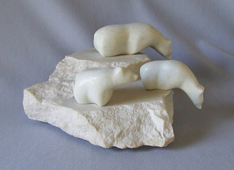 gordon hoselton marble polar bears sculpture
