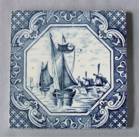 blue and white ship tile