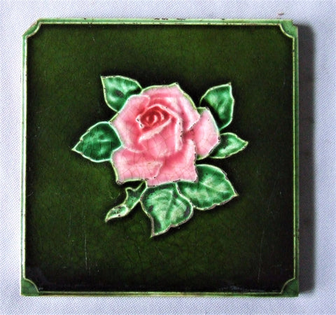 Antique English Rose Art Nouveau Tile by Richards