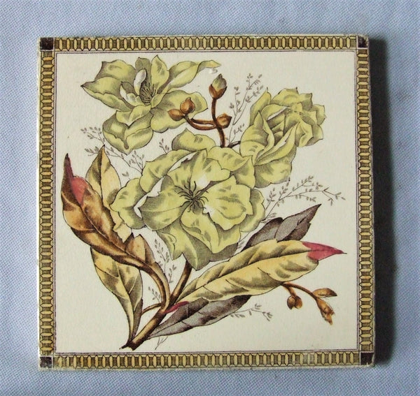 English Transferware Tile Magnolia Flower