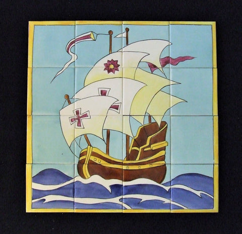 Fujimiyaki Mosaic Tile Panel Galleon