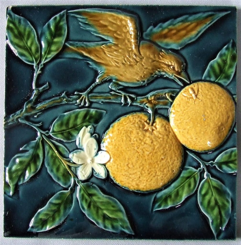 Minton Majolica Tile Bird in Orange Tree