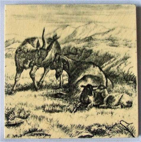 antique tile Minton goats