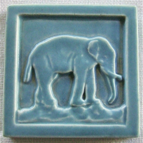 Rookwood Pottery Tile Paperweight Blue Elephant 1921