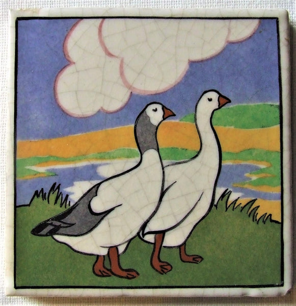 Carter Poole Farmyard Series Tile Geese