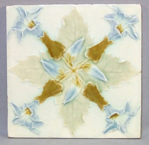 Art Nouveau Tile with Thistle Flowers