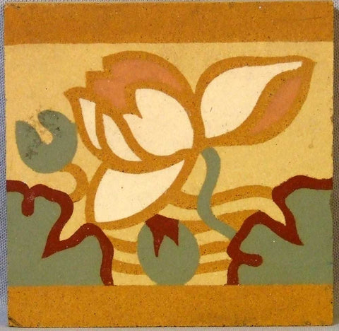 Boch Freres Maubeuge Tile Waterlily Encaustic