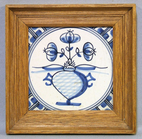 Antique Delft Blue and White Tile Flowers Framed