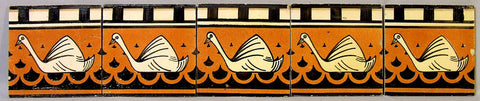 5 Dutch Delft Art Deco Swan Tiles