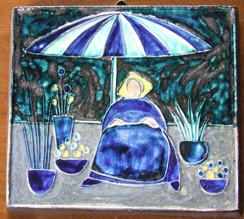 Danish Modern Knabstrup Tile Flower Seller