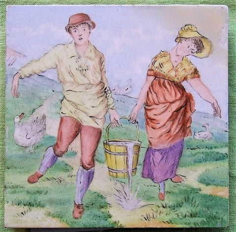 Walter Crane Minton Tile Jack and Jill Baby's Opera