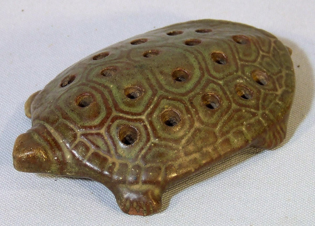 Peters and Reed Zaneware Art Pottery Turtle Flower Frog