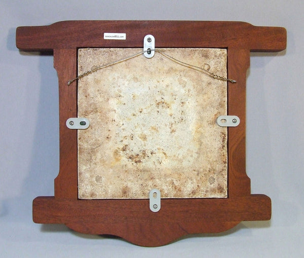 Tropico Gladding McBean Ship Tile Panel in a Mahogany Greene & Greene Style Frame