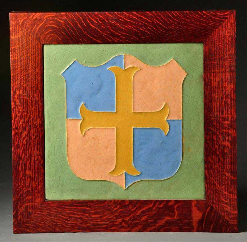 Wheatley Arts and Crafts Pottery Tile French Cross Framed