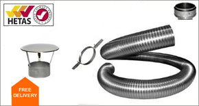 Chimney Flexi Flue Pipe 150mm Kit