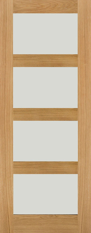4 Panel Oak Shaker Clear Glass Internal Door