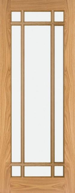 Oak Shaker Clear Glass 9 Panel Internal Door