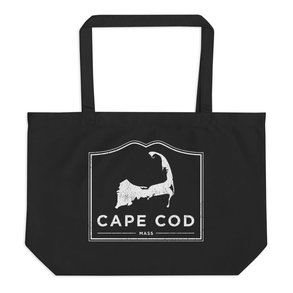 Cape Cod Mass Large Black Tote Bag Vintage Look