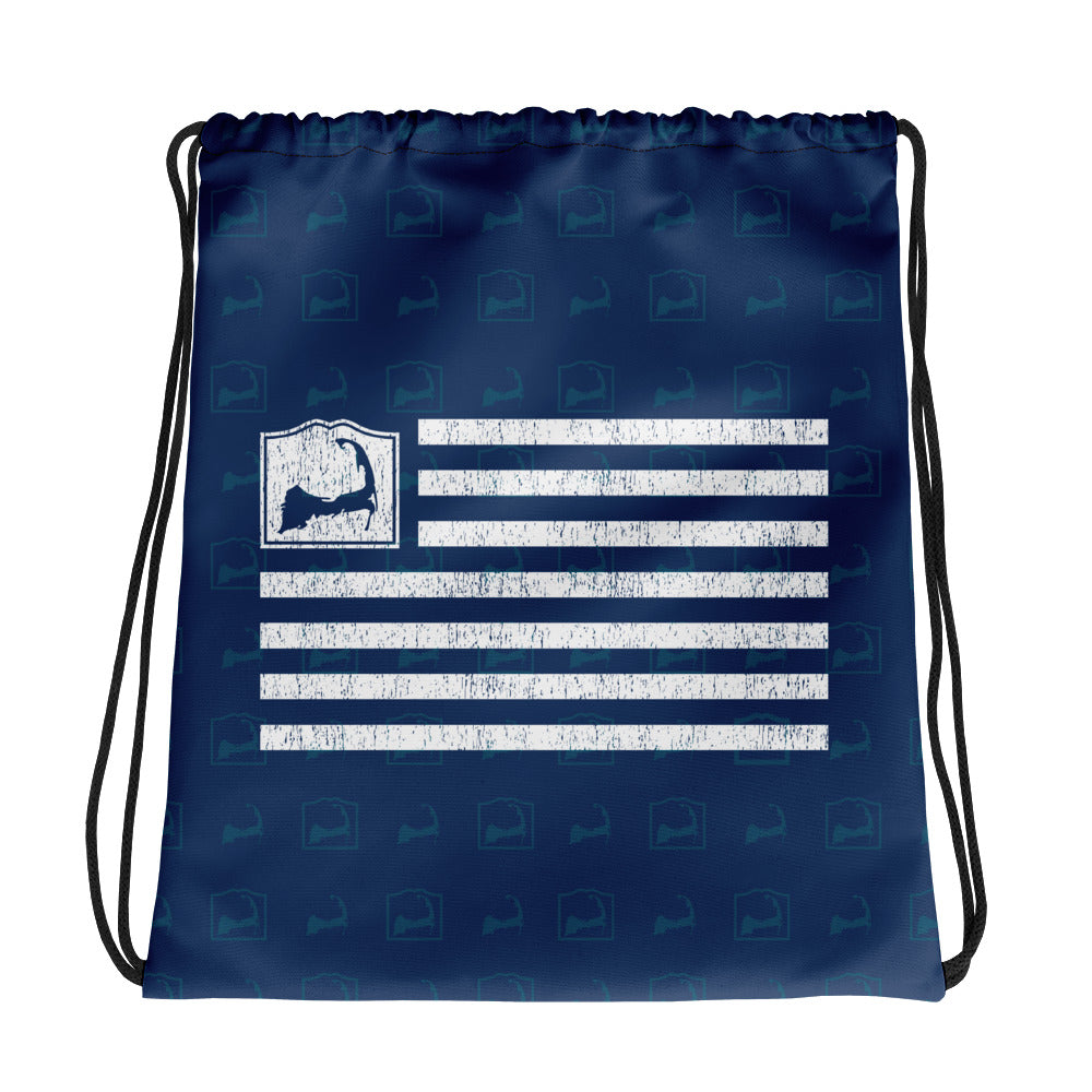 Cape Cod Flag Blue Drawstring Backpack