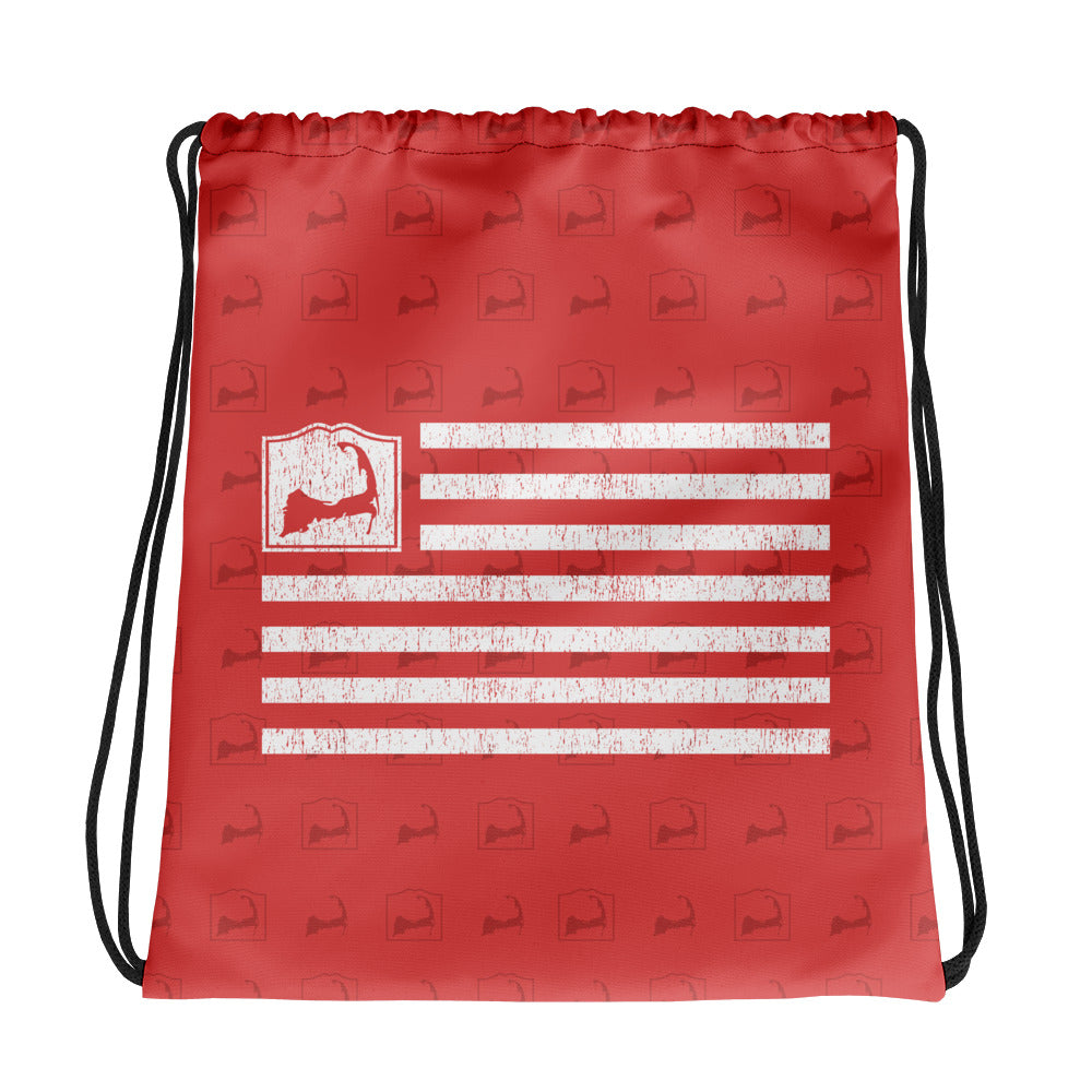 Cape Cod Flag Red Drawstring Backpack