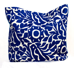 Shop Taller Folk Hand Embroidered Pillow Cover in blue
