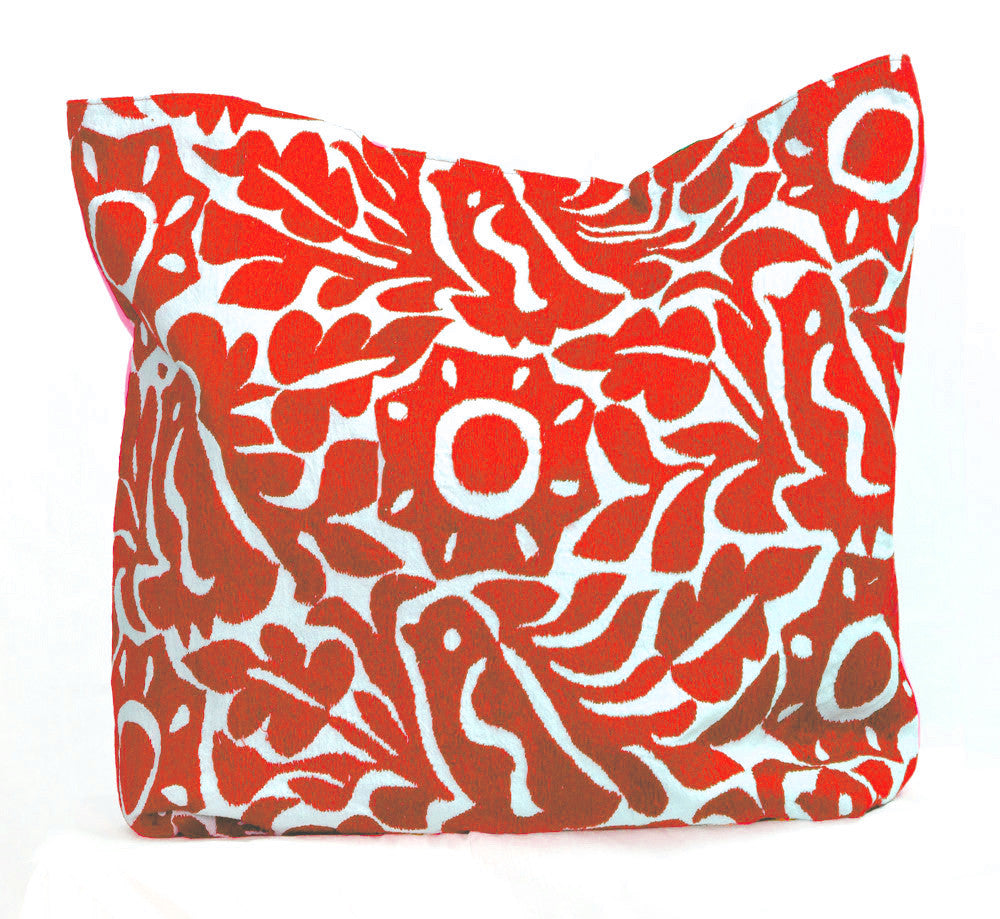 Shop Taller Folk Hand Embroidered Pillow Cover in red