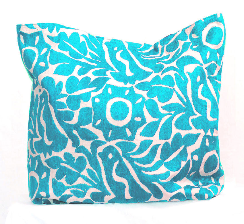 Shop Taller Folk Hand Embroidered Pillow Cover in Turquoise