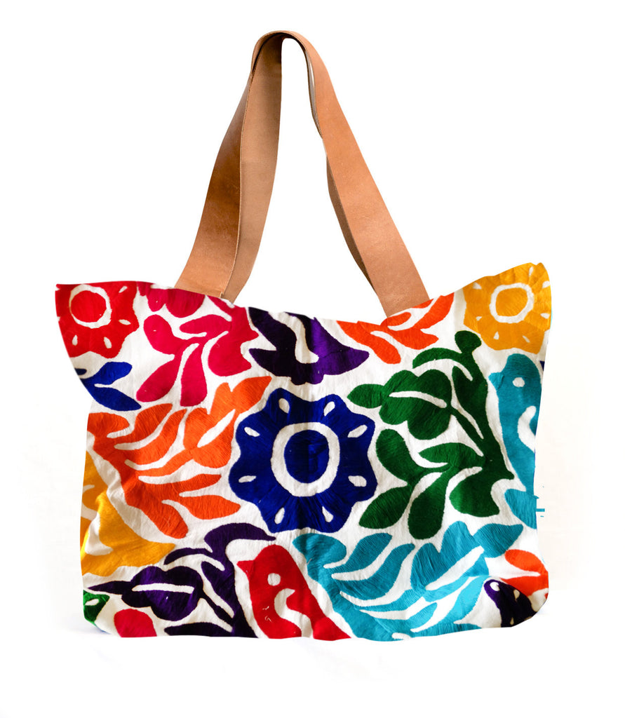 Folk Oaxaca Luciana Tote Embroidered in Multiple Colors
