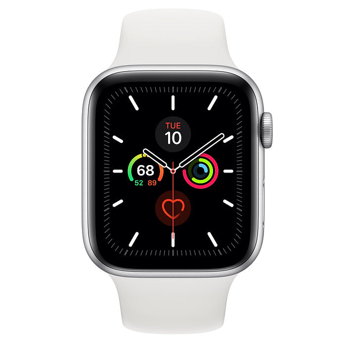 Apple Watch Series 5 GPS + Cellular, 44mm Silver Aluminum Case with White Sport Band - MWVY2LL/A