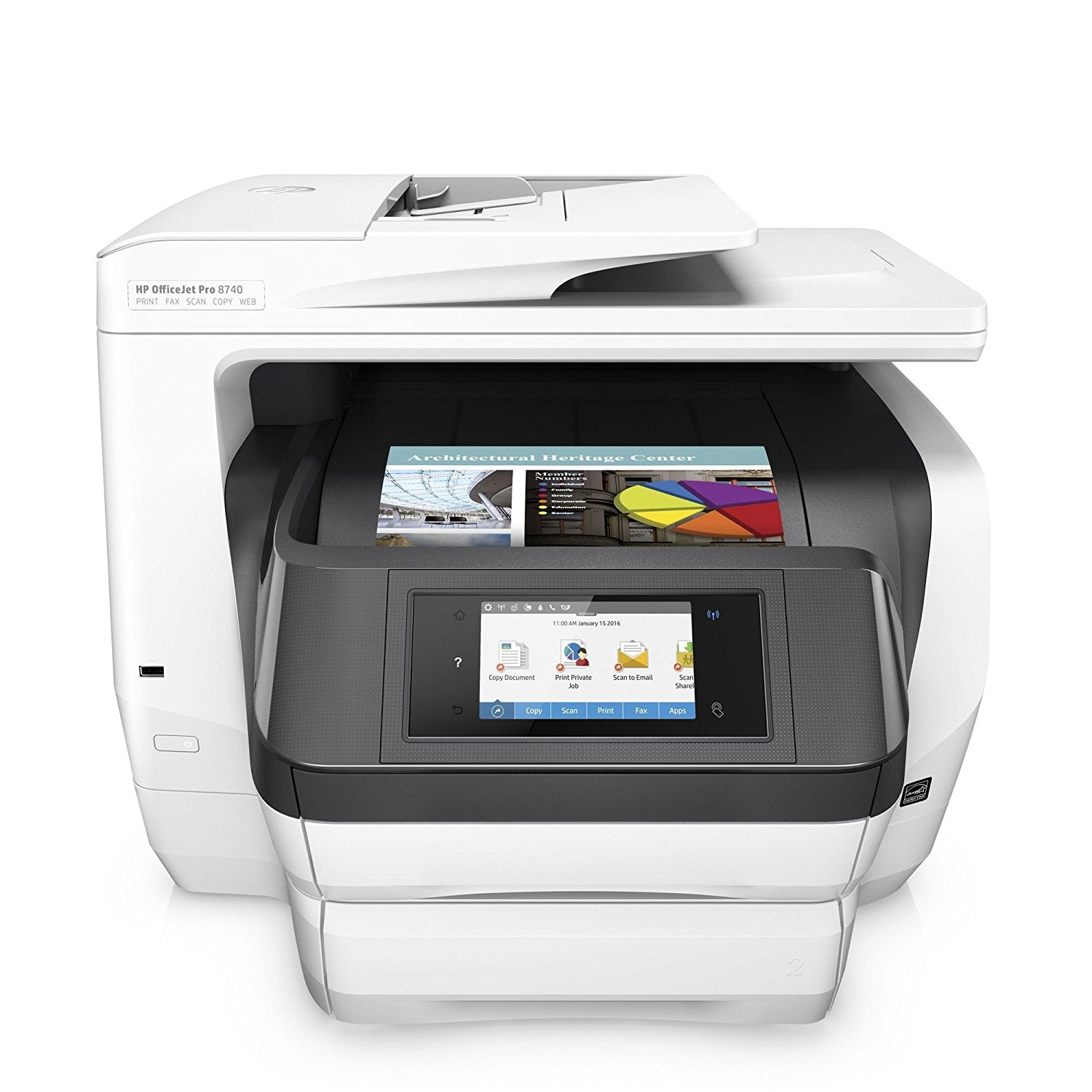 Ideal for small workgroups who need affordable, professional-quality color with fleet management capabilities, all in a space-saving design. Count on remarkable value for your color printing needs. Spend up to 50% less per page compared with lasers, and produce the color and black text output you need to keep your business humming.   Save even more with HP Instant Ink. Get high speeds for two-sided print and scan jobs with laser-like paper handling, and preserve real estate with space-saving HP Print Forward Design. Print longer-without reloading-from an included second paper tray.   Keep business moving from anywhere in the office. Connect to devices with touch-to-print functionality. Easily print when and where you need to from your smartphone, tablet, or notebook PC. Get everything you need to easily manage your printing environment, from drives to deployment to policies. Expand print capabilities with support for HP PCL 6, HP PCL 5c, and HP PS printing options.   Includes 1 year e