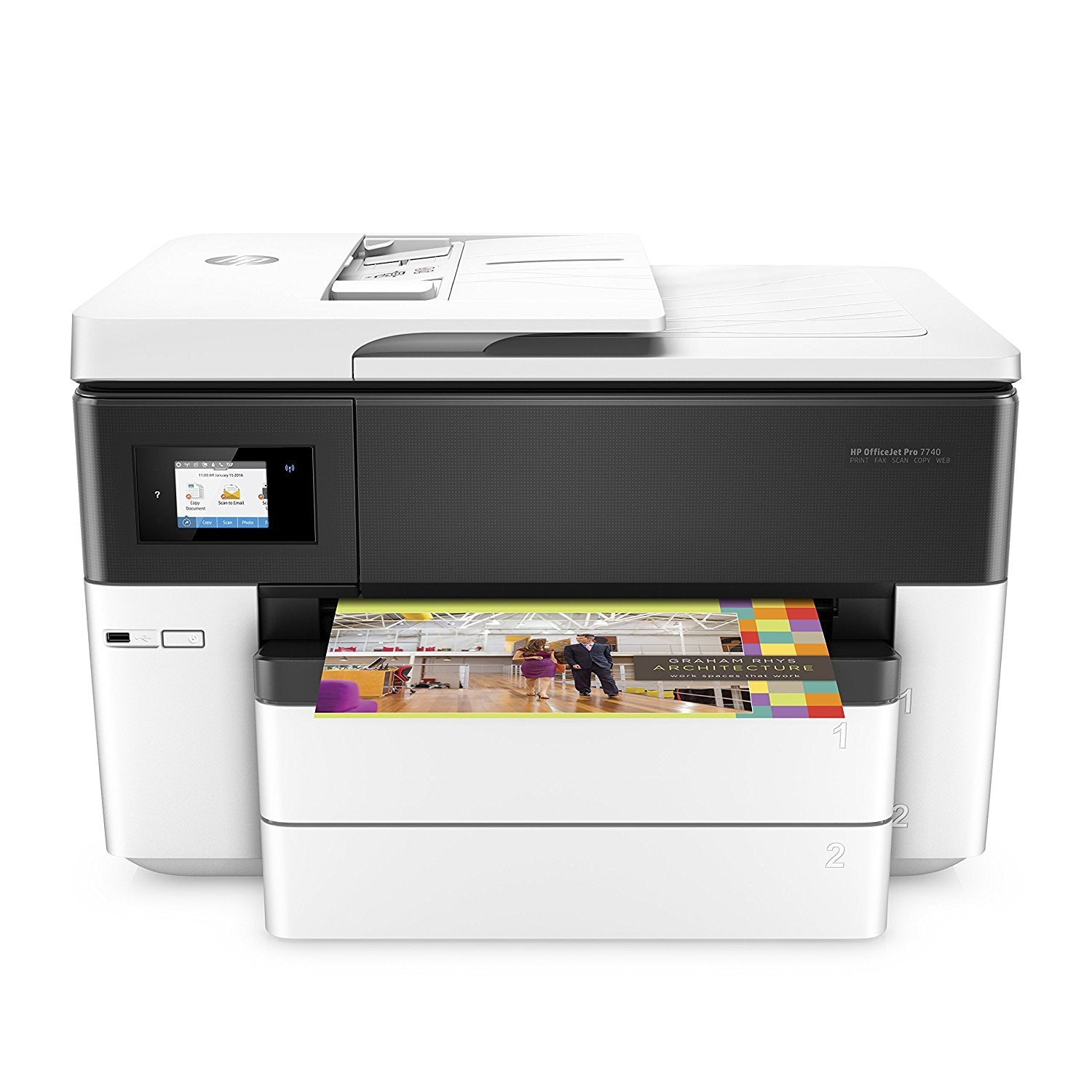 Print, scan, and copy in standout color on sizes up to 11 x 17 inches (A3), for bold documents and presentations at up to 50% less cost per page than color laser. Fax up to 8.5 x 14 inches (21.6 x 35.6 cm).  Dynamic security: Cartridges with non-HP chips might not work today or in the future.  FeaturesHigh-impact 11 x 17 inch printingAutomatic two-sided printing, fast print speeds, and an auto document feeder help ease your day.The 35-page ADF handles documents up to legal size (21.6 x 35.6 cm), so you finish duplex jobs quickly.Tap and swipe the smartphone-style color touchscreen for timesaving shortcuts.Increase paper capacity to 500 sheets with the included second 250-sheet paper tray.Present professionally. And affordably.Create vibrant color graphics and deep black text on a variety of papers from letter to tabloid (A3).Produce water-, smear-, and fade-resistant prints that stand up to highlighters.Print more black text and color pages with optional Original HP high-yield ink car