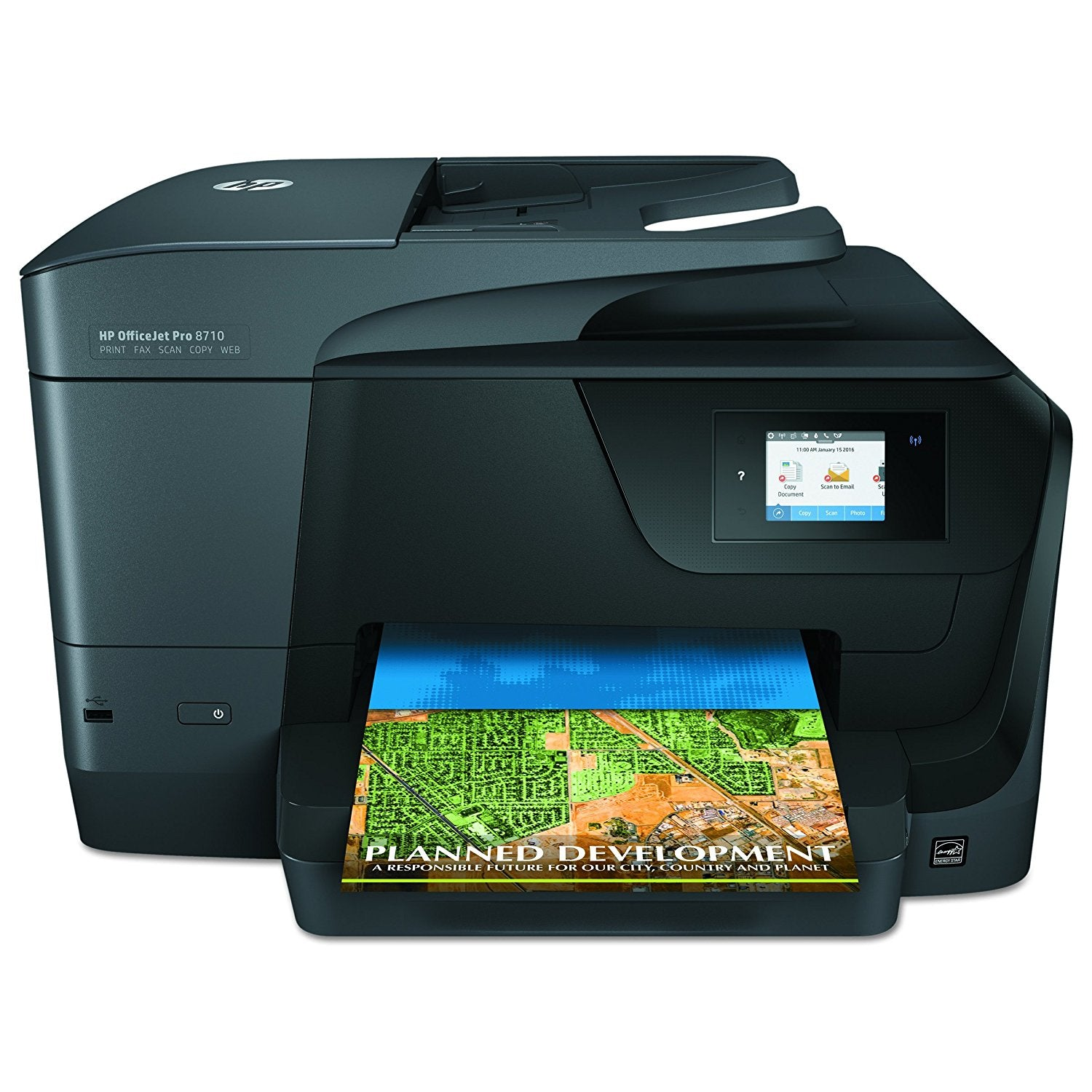 This full-featured wireless all-in-one delivers professional-quality color for up to 50% lower cost per page than lasers. Stay productive and tackle high-volume print jobs with print, fax, scan, and copy versatility. Finish jobs in a snap with an all-in-one printer designed for fast, high-volume performance for the office.  Quick two-sided prints and swift fax, scan, and copy speeds keep workgroups productive. Manage tasks easily with touchscreen digital shortcuts. Scan digital files directly to email, network folders, and the cloud with preloaded business apps. Easily print documents, photos, and more from a variety of smartphones and tablets. Help protect information and access to confidential print jobs with HP JetAdvantage Private Print.Includes 1 year extended warranty.  Customer open box item, but never used.   All original packaging and ink are included.
