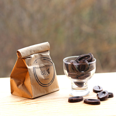 Vermont's Best 85% dark chocolate buttons by Rabble-Rouser. Available at rabblerouser.net